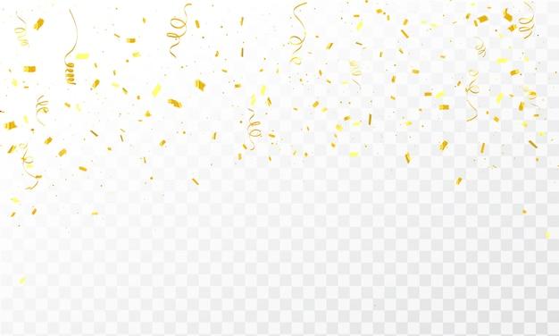 Confeti de oro celebración cintas de carnaval.