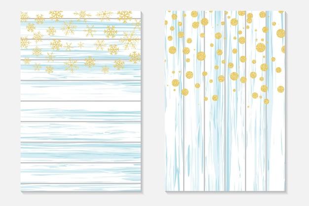 Confeti de oro sobre fondo cutre. cubierta con puntos dorados y copos de nieve cayendo. tarjetas de invitación para fiesta, flyer.