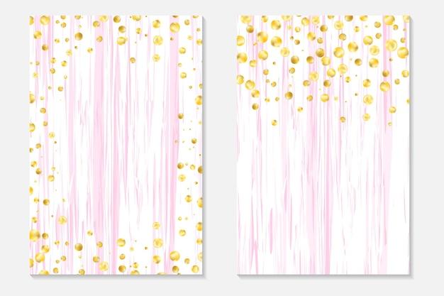 Confeti de oro sobre fondo cutre. funda engastada con lunares dorados y lentejuelas. tarjetas de invitación para fiesta, flyer.
