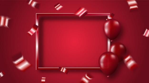 Confeti rojo brillante y globos con marco sobre fondo rojo.