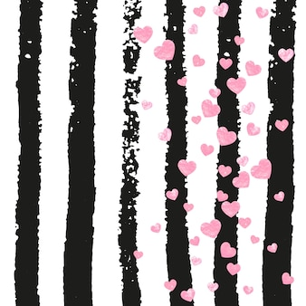 Confeti rosa brillo con corazones en rayas negras. lentejuelas que caen con brillo y destellos. plantilla con confeti de brillo rosa para tarjeta de felicitación, despedida de soltera y guardar la fecha de invitación.