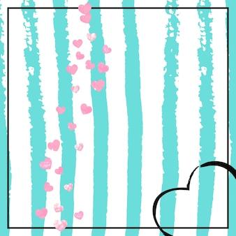 Confeti rosa brillo con corazones sobre rayas turquesas. lentejuelas que caen al azar con destellos brillantes. diseñe con confeti de purpurina rosa para invitaciones a fiestas, despedidas de soltera y guarde la fecha de la invitación.