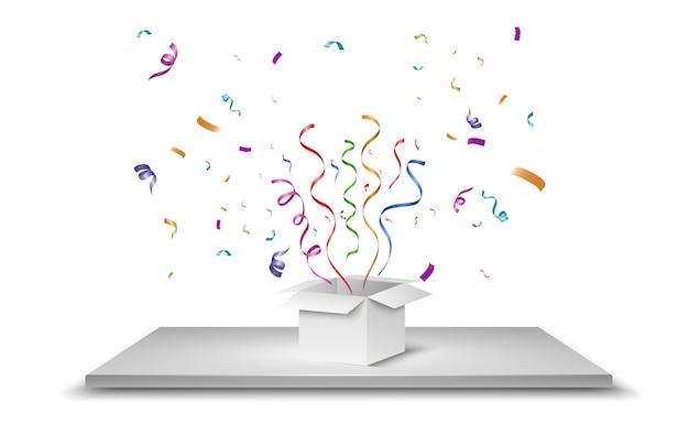 El confeti sale volando de la caja. sorpresa ilustración