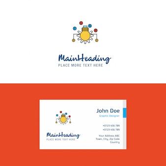 Configuración de bombilla plana logotipo y plantilla de tarjeta de visita. logotipo de busienss