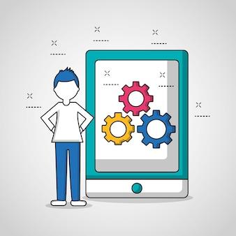 Configuración de engranajes de pantalla de smartphone de chico de trabajo en equipo de gente