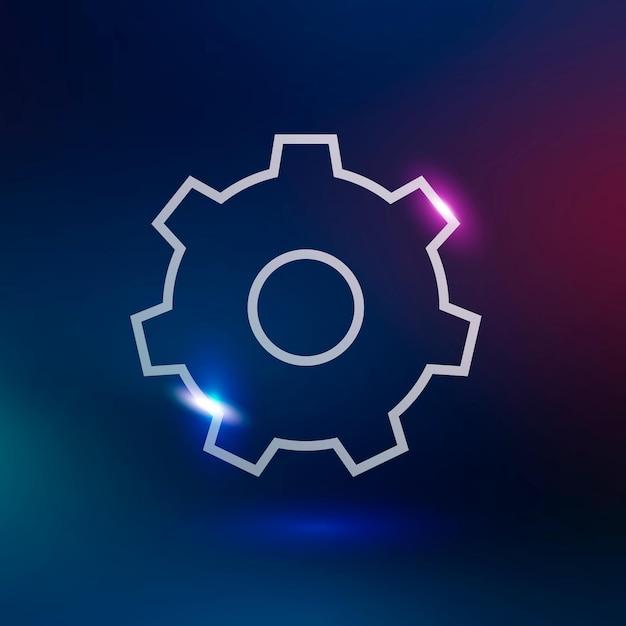 Configuración de icono de tecnología de vector de engranaje en neón púrpura sobre fondo degradado