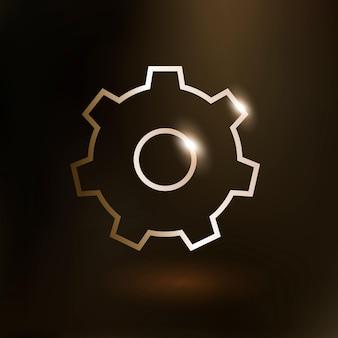 Configuración de icono de tecnología de vector de engranaje en oro sobre fondo degradado