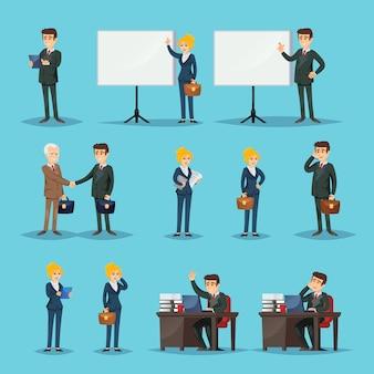 Configuración de iconos para empresarios en la oficina