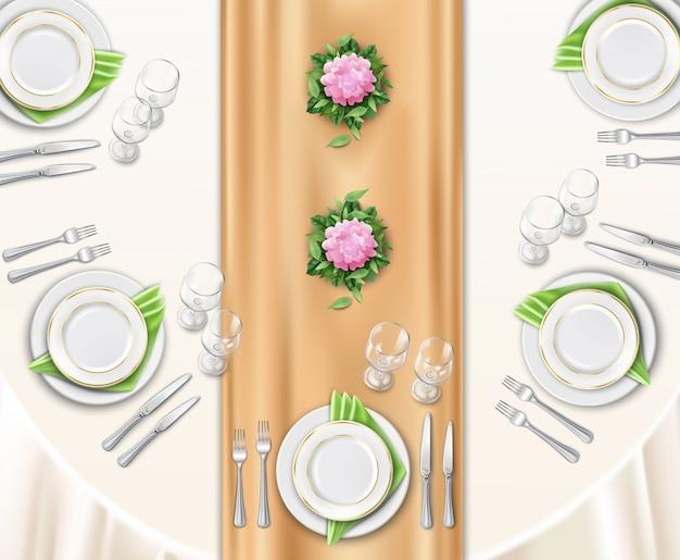 Configuración de la mesa de la cena