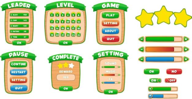 Configuración de pausa del menú principal completa, tablas de clasificación de nivel de líder, estrellas emergentes y juego de botones, juego de interfaz de usuario