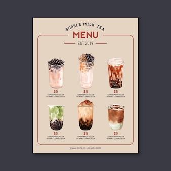 Configure el menú de té y matcha de la leche de la burbuja del azúcar marrón, cosecha de contenido del anuncio, ilustración acuarela