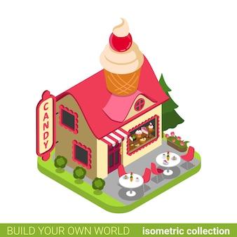 Confitería tienda de dulces cupcake forma edificio cafetería restaurante realty concepto de bienes raíces.