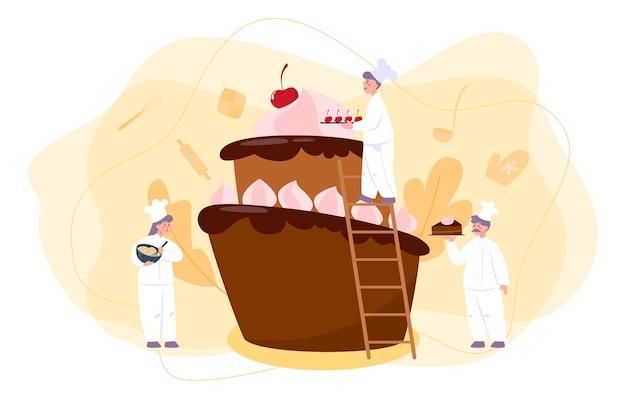 Confitero. chef pastelero profesional. pastel de cocción de panadero dulce para vacaciones, magdalenas, brownie de chocolate. ilustración de vector plano aislado