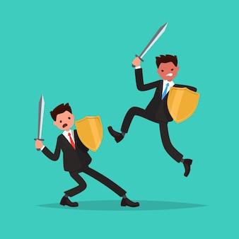 Conflicto. batalla de dos empleados.