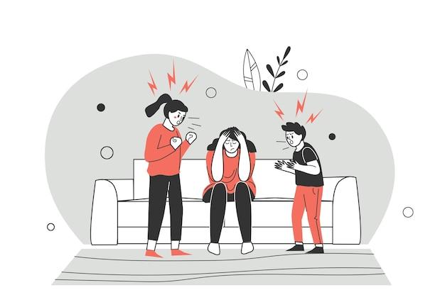 Conflictos, peleas en cuarentena y desencuentros familiares. hermano y hermana pelean y descubren la relación. los niños pelean. ilustración de vector de personaje de estilo plano