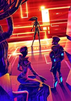 Confrontación ciberpunk entre cazador y asesino