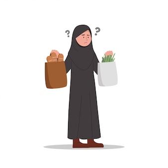Confundido u olvidar expresiones niña árabe después de ir de compras