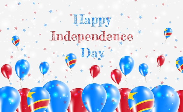 Congo la república democrática del diseño patriótico del día de la independencia. globos en colores nacionales congoleños. tarjeta de felicitación feliz del vector del día de la independencia.