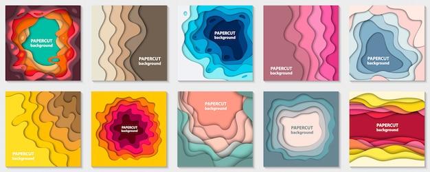 Conjunto de 10 fondos con corte de papel colorido