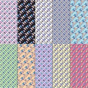 Conjunto de 10 iconos de helado de colores lindos en un fondo de patrón de vector libre con varios ingredientes