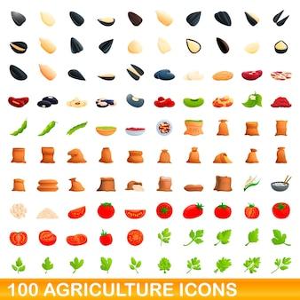 Conjunto de 100 iconos de agricultura. ilustración de dibujos animados de 100 iconos de agricultura conjunto aislado sobre fondo blanco