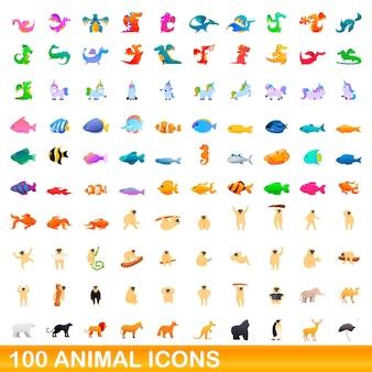 Conjunto de 100 iconos de animales. ilustración de dibujos animados de 100 iconos de animales conjunto de vectores aislado sobre fondo blanco