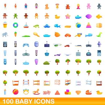 Conjunto de 100 iconos de bebé, estilo de dibujos animados