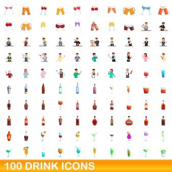 Conjunto de 100 iconos de bebida. ilustración de dibujos animados de 100 iconos de bebidas conjunto aislado