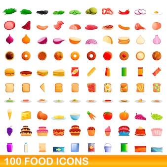 Conjunto de 100 iconos de comida, estilo de dibujos animados