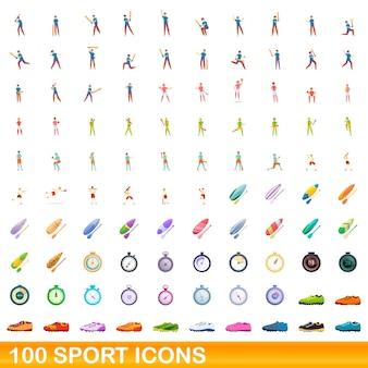Conjunto de 100 iconos deportivos. ilustración de dibujos animados de 100 iconos deportivos conjunto aislado