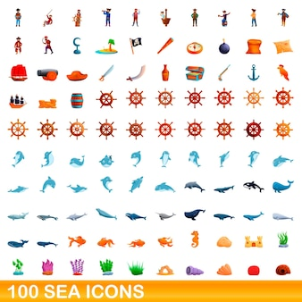 Conjunto de 100 iconos de mar. ilustración de dibujos animados de 100 iconos de mar conjunto aislado sobre fondo blanco