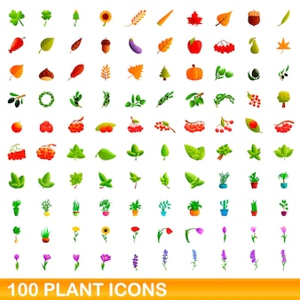 Conjunto de 100 iconos de plantas. ilustración de dibujos animados de 100 iconos de plantas conjunto aislado sobre fondo blanco