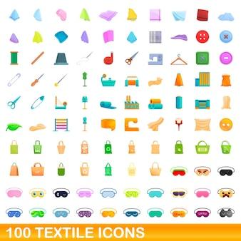 Conjunto de 100 iconos textiles. ilustración de dibujos animados de 100 iconos textiles conjunto aislado