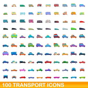 Conjunto de 100 iconos de transporte. ilustración de dibujos animados de 100 iconos de transporte conjunto aislado