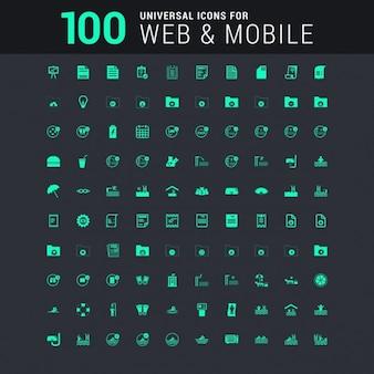 Conjunto de 100 iconos universales para web y móvil en verde