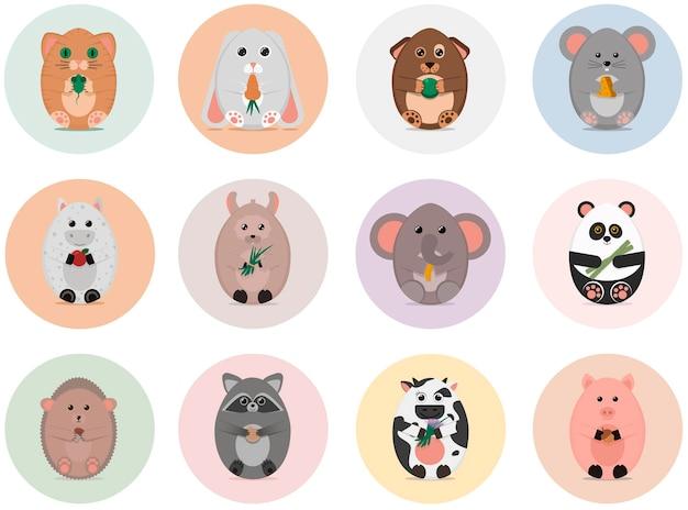 Conjunto de 12 animales de huevo de pascua