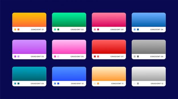 Conjunto de 12 gradientes web establecidos