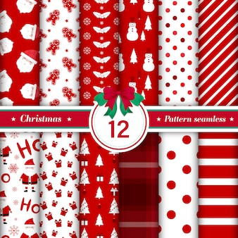 Conjunto de 12 patrones de feliz navidad sin costuras.