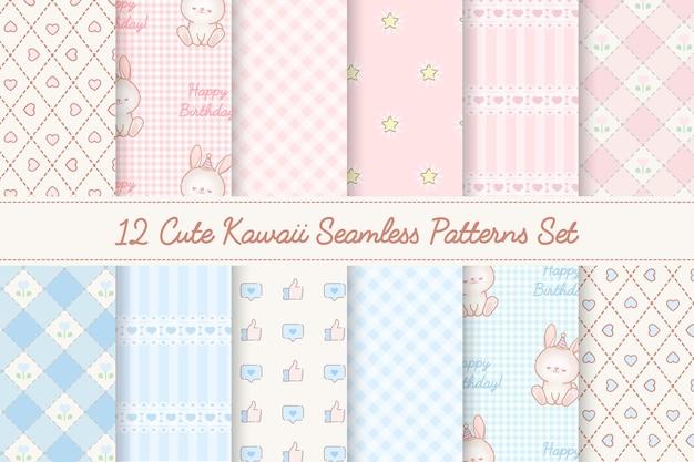 Conjunto de 12 patrones sin fisuras de baby showers