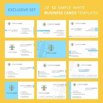 Conjunto de 12 plantilla de tarjeta de visita creativa a escala de lápiz