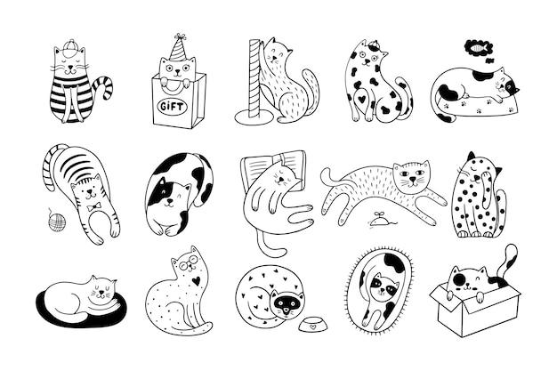 Conjunto de 15 lindos gatos dibujados a mano