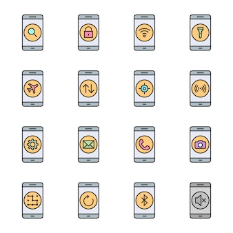 Conjunto de 16 iconos de aplicaciones móviles para uso personal y comercial