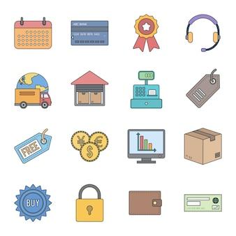 Conjunto de 16 iconos de comercio electrónico para uso personal y comercial