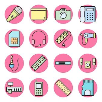 Conjunto de 16 iconos de dispositivos electrónicos en elementos aislados de vector blanco