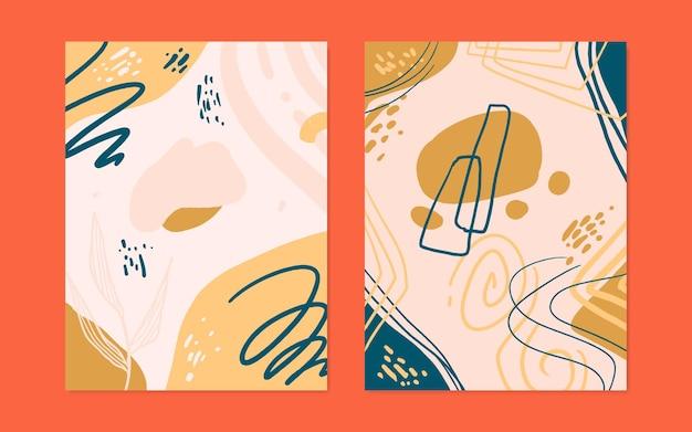 Conjunto de 2 cubiertas de forma orgánica abstracta en estilo vectorial