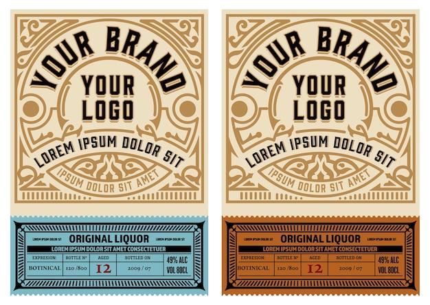 Conjunto de 2 etiquetas vintage. en capas