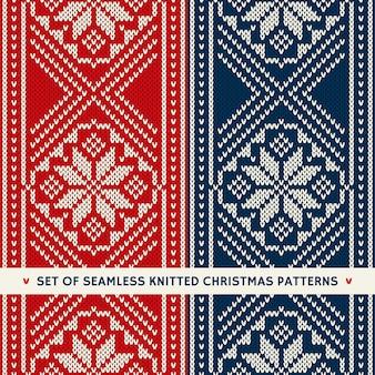 Conjunto de 2 patrones de tejer sin costuras de vacaciones de invierno. adornos de navidad y año nuevo