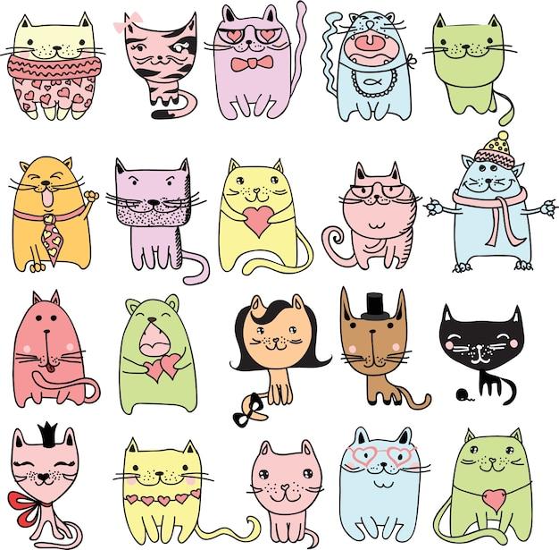 Conjunto de 20 avatares de gatos lindos y divertidos doodle de color