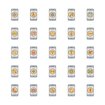 Conjunto de 25 iconos de aplicaciones móviles