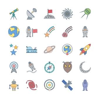 Conjunto de 25 iconos de astronomía